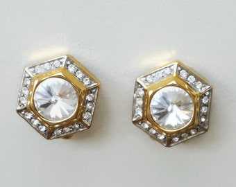 Gold Tone Clear Rhinestone Clips Earrings, vintage quality costume jewelry, vintage earrings