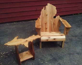 Michigan Adirondack Chair Handmade Wood Furniture Rustic Patio