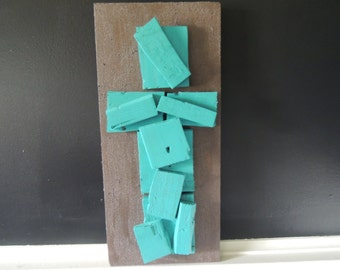 Turquoise on Chocolate Broken Cross