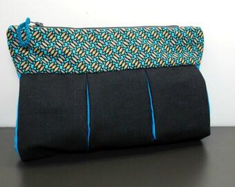 Handmade Denim Pouch,  Denim Cosmetic Purse, Fabric Cosmetic Pouch, Denim Makeup Bag,Cosmetic Bag