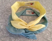 Reserved for Tanya: Two Wired Headbands Blue and Yellow