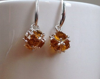 Silver and yellow/ light brown topaz crystal ball earrings