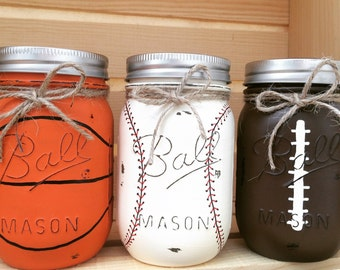 Choose 1 Mason Jar Piggy Bank, Baseball, Basketball, Football, Softball, Mason Jars, Sports, Baby Shower, Gift for Him, Sports Party