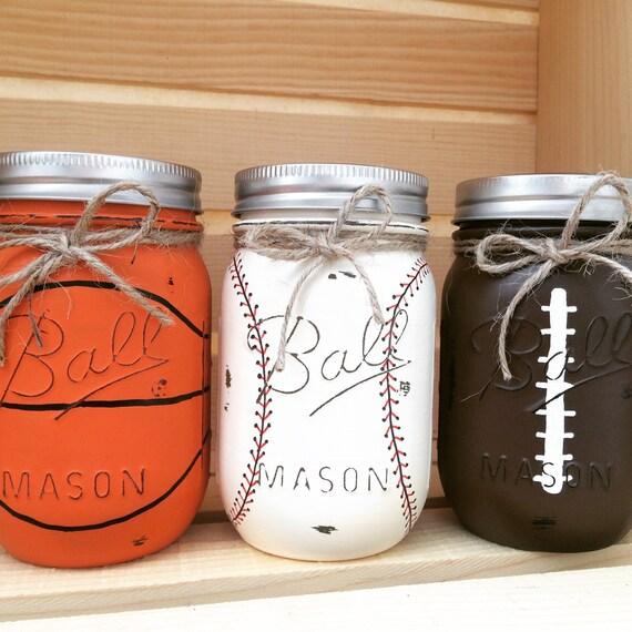 Choose 1 mason jar piggy bank baseball basketball football for Mason jar piggy bank