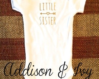 Little Sister Onesie With Gold Lettering