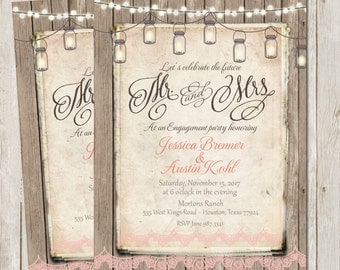 Rustic, Engagement Party Invitation, Rustic, Wood Fence, Lights Engagement Party Invitation, Printable, Digital File, Personalized, 5x7,
