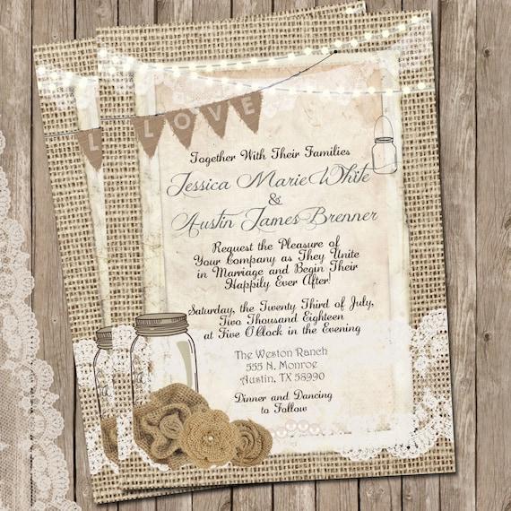 Rustic Burlap and Lace Wedding Invitation, Invite, Mason Jar, Printable, Digital File, Personalized, 5x7,