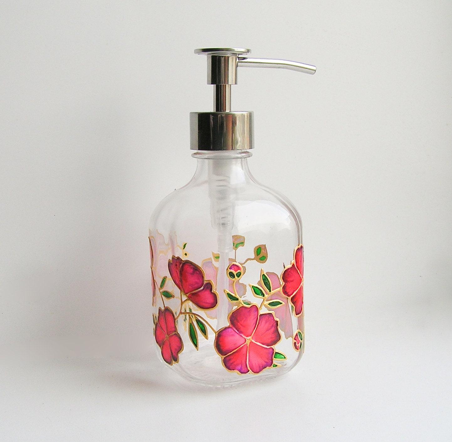 Glass Soap Dispenser Red Flowers Soap Pump Floral Design