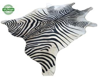 Cowhide Rug ZEBRA BLACK WHITE Unique!  a347 7.5 x 6.2 ft Peau de Zebari Piel de Vaca Impresa Cebra