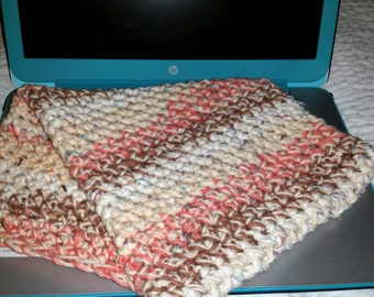 Crochet 14' Laptop Sleeve, Coral/Brown/White/Offwhite