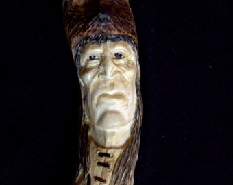 Walking stick,  hiking stick, Hand carved, wood spirit carving, Hiking Staff, cane, aspen, Indian, Native Amaerican B. Madsen