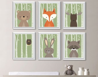 Baby Boy Nursery Art. Woodland Nursery Art. Woodland Nursery Decor. Forest Animals. Forest Friends. Forest Nursery. Boy Bedroom Art. NS-739