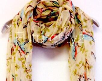 Birds Beige Spring Scarf / Summer Scarf / Gift For Her / Women Scarves / Gift Ideas / Fashion Accessories