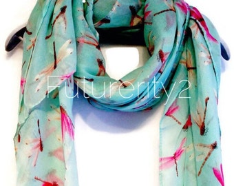 Pink Dragonfly Light Blue / Green Spring Scarf / Summer Scarf / Gift For Her / Women Scarves / Fashion Accessories
