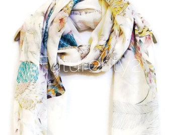 Sketched Birds White Spring Scarf / Summer Scarf / Autumn Scarf / Gift For Her / Womens Scarves / Fashion Accessories