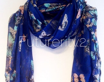 Butterfly Navy Blue Summer Scarf / Spring Scarf / Gift For Her / Womens Scarves / Fashion Accessories
