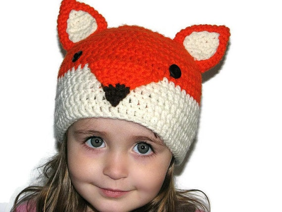Crochet Fox Hat : Crochet Fox Hat in Orange and Cream. Newborn, Child Sizes Available ...