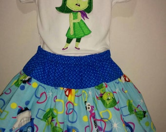 Inside Out Emotions Disgust Disgusted Green Boutique Birthday Party Twirl Twirly Skirt Shirt Set Girl Outfit! Sizes 2 ,3, 4, 5, 6, 7, 8