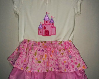 Girls Baby Infant Sister Set Pink Glitter Castle Princess Boutique Skirt Set Outfit Tiered Twirly Skirt Embroidered Shirt! Birthday Party