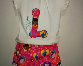 Doc McStuffins Lambie Stuffie Hallie Boutique Birthday Party Shorts Embroidered Shirt TShirt Set Outfit! Toy Doctor Hospital Initial Shirt