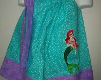 Princess Mermaid Ariel Girl Pillowcase Pillow Case Girl Boutique Summer Sun Dress! Sizes 2 3, 4, 5, 6, 7 8 10 12 14