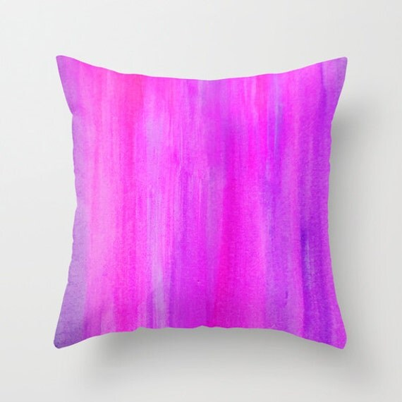 Watercolor Pillow Throw Pillow Pink and Purple Accent