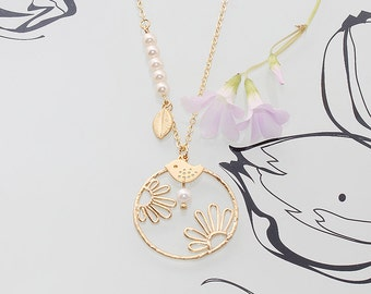 Gold Plated, Simple Flower Silhouette Round Pendant with Sparrow and Leaf Charms, Pearl Necklace