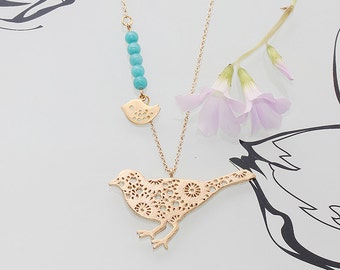 Gold Plated, Simple Flower Pattern Bird Pendant with Mini Sparrow, Blue Pearl Necklace