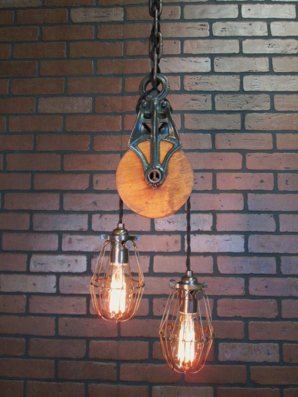 Vintage Industrial Light Pulley Pendant Drop Ceiling Light
