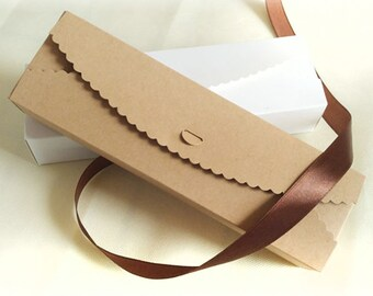 Set 10 Long Kraft Paper Boxes - DIY Craft Accessories Jewelry Cosmetic Baking Packaging / Wedding Party Gift Boxes
