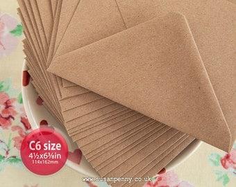 "Kraft Envelopes, 100pk, C6 Brown Flecked Envelopes, 4 1/2 x6 3/8"" Envelopes, Kraft Paper Envelopes C6 -  PSS089"
