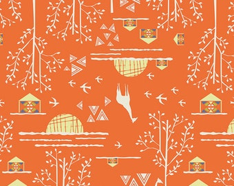 SALE Fabric of the Week --- Overland Journey in Orange from Safari Moon by Frances Newcombe for Art Gallery Fabrics