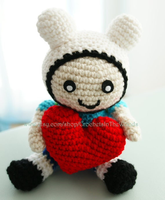Amigurumi Love Birds Pattern : Crochet Amigurumi Plush Doll Adventure Time Inspired Finn