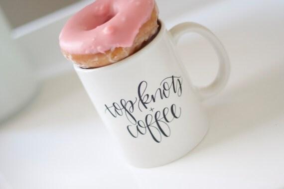 Top knots + Coffee mug // hand lettered mug