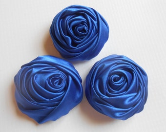 "45 mms or 1 6/8 ""Multilayer Satin Rolled Rose,Royal Blue   Satin Rosette, Wholesale Flower, Headband Rose Buds, 4cm Floral Embellishment,"