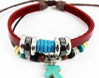Leather Wrap Bracelet With Charms and Cross Friendship Leather Braclet Valentine's Day Gift CH-16