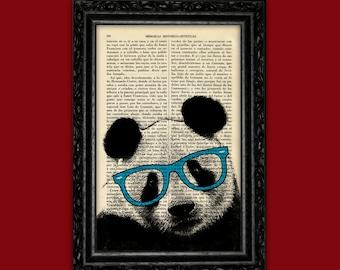 Panda Bear Cyan Sunglasses Eyes Print Panda Poster Book Art Dorm Room Panda Print Gift Wall Decor Dictionary Print Animal Art (Animal Nº32)