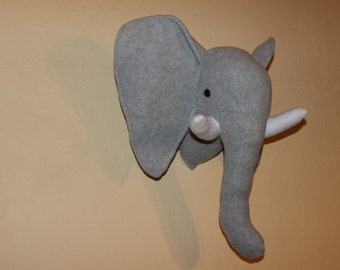 Free shipping !!Grey stuffed elephant wall mount/nursery decor/home decor/faux taxidermy
