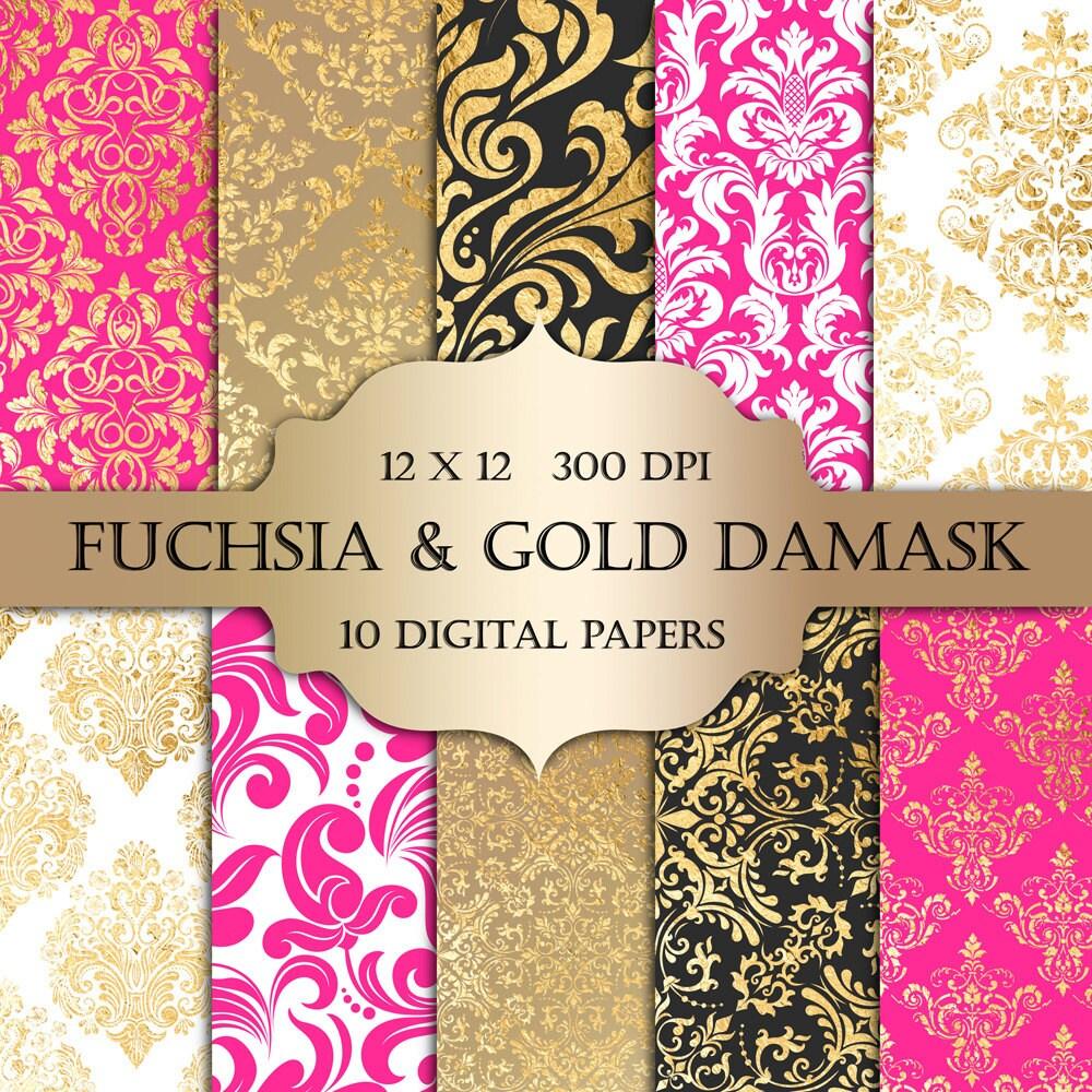 Fuchsia & Gold Foil Damask Digital Paper - hot pink gold ...