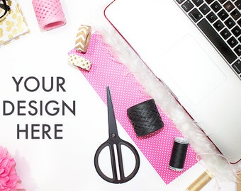 Styled Laptop Computer Stock Photography | Pink Gold Black | Office Stock Photo | Styled Stock Photography | Web Graphic Design Background