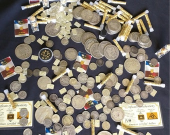 Gold and Silver Estate Lot Sale / Old US Coins / Bullion / .999 Silver Bars / Includes 12 Items / All Items are Gold or Silver!