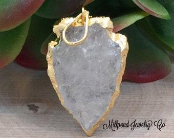 Crystal Quartz Arrowhead Pendant,  Free Form Druzy Agate Pendant, Gold Plated Pendant, Gemstone Pendant, PG2406