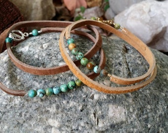 Turquoise and leather wrap bracelet