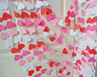 Wedding Garland, Red, white, pink and light pink Heart garland