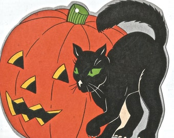Vintage Halloween JOL black cat Fern Bisel Peat die cut digital download printable image 300 dpi