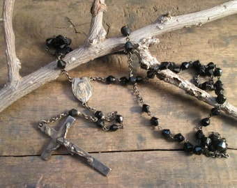 Vintage Catholic Rosary with Black Glass Beads
