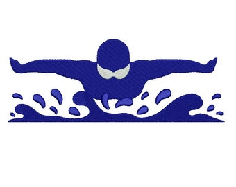 Olympic Swimmer Sports Filled Machine Embroidery Digitized Design Pattern  - 4x4 , 5x7, 6x10 -hoops