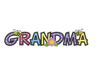 Grandma Applique Machine Embroidery Digitized Design Pattern