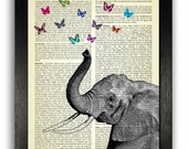Beautiful Elephant & Butterflies Poster Art Print, Vintage Dictionary Book Art, Kids Bedroom Decor, Nursery Art, Elephant Art, Kids Present