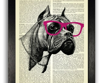 Boxer Dog in Pink Geek Glasses Dictionary Art Print, Geekery Dog Poster Art, Dog Wall Decor, Pet Dog Painting Decal, Vintage Dictionary Dog